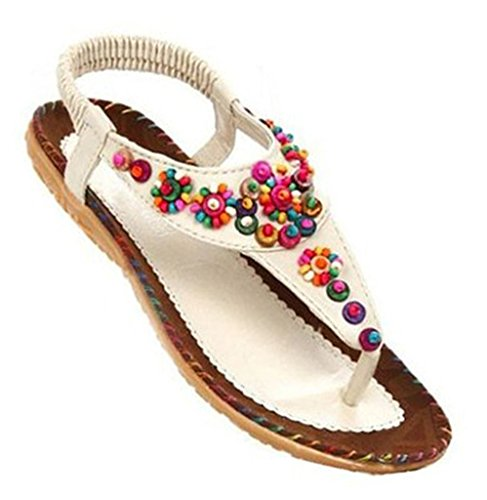Fortuning's JDS Women summer bohemian beaded T-Strap flip flops flat sandals White loIfF