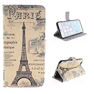 Mini - The Eiffel Tower Design PU Leather Case with Card Slot and Stand for iPhone 6 Plus