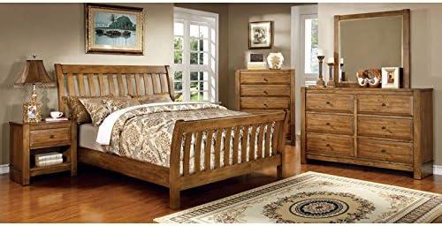 Amazon Com Conrad Country Style Rustic Oak Finish Queen Size 6