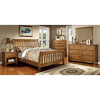 Amazon.com: Conrad Country Style Rustic Oak Finish Queen Size 6 ...