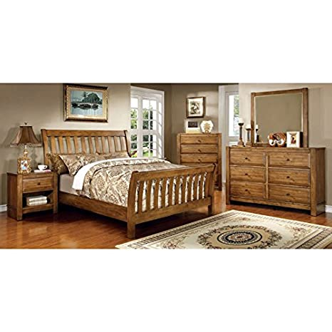 Amazon.com: Conrad Country Style Rustic Oak Finish Queen ...