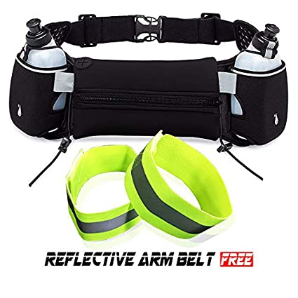 b0b94555ba89 Excellent Custom Running Hydration Belt Waist Bag for Runners Adjustable  Fuel Belt with 10 Ounce Water Bottles Phone Holder and Waist Pack with  Large ...