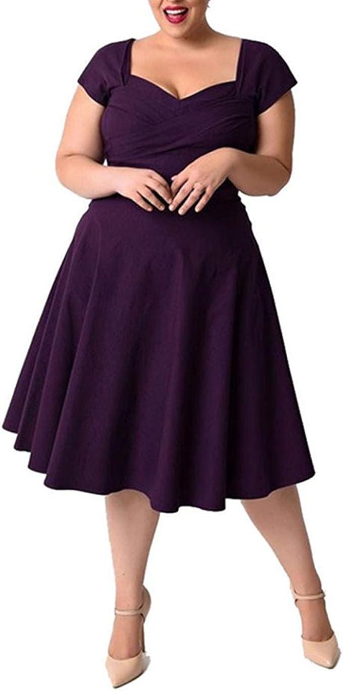 übergröße Kleider Vintage Damen Kolylong® Frauen Sommer Beiläufig  V-Ausschnitt Kleid Party Kleid Lose Strandkleid Abendkleid Cocktailkleid  Abendmode