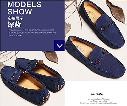 HAPPYSHOP Genuine Mens Leather Slip-on Loafers Driving Car Shoes Moccasins Dark Blue WZG1RPy