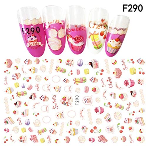 1 piece 1PCS Fruit Series Colorful New Year DIY Nail Sticker Strawberry/Pineapple/Cake Decals Nails Manicure Cute 3D Sticker TRF286-294