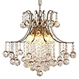 Lightess Crystal Chandelier Modern Pendant Ceiling Hanging Light Fixture with 6 Lights For Sale