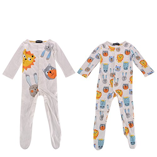 Baby Boys Rompers, 2pcs Colorful Lion Footed Jumpsuit Pajamas Sets (0-6 Months)