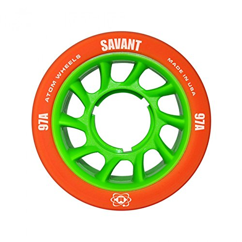 Atom Savant Skate Wheels with Bionic Bearings 8mm Full Set of 8 Orange 97A by Atom Skates