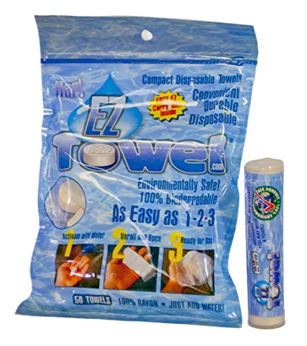 EZ-Towel with New Durable Tube and Packaging, 50 Pieces (Towel Travel Bamboo)