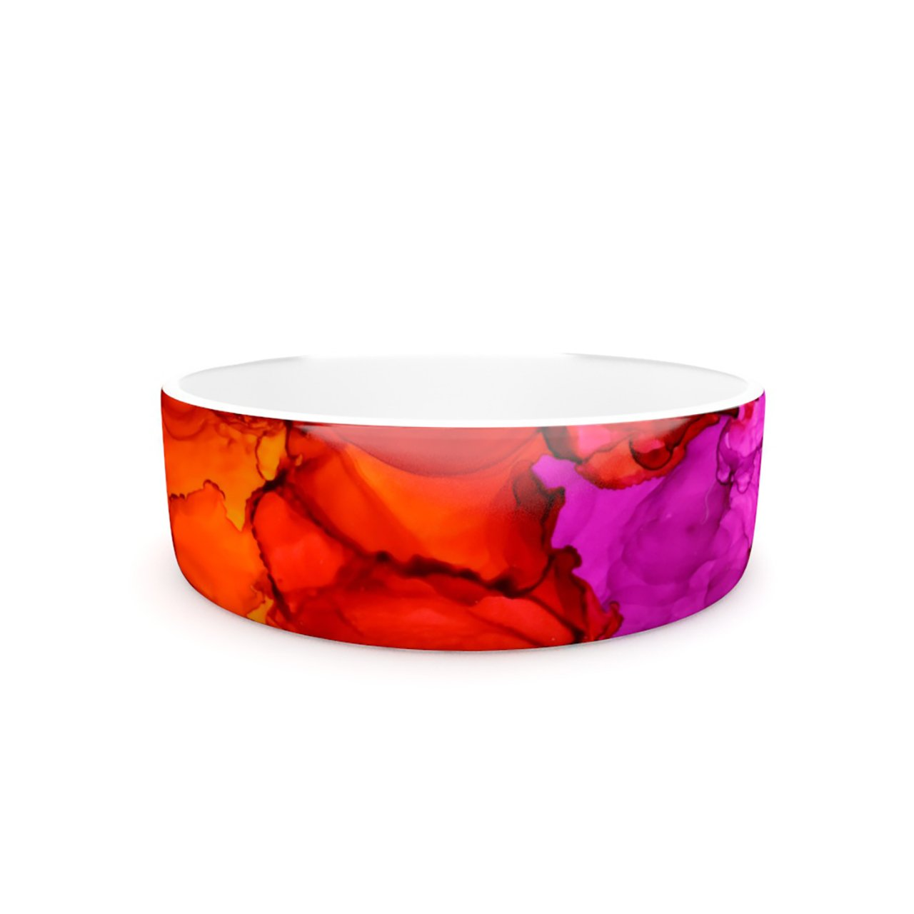Kess InHouse Claire Day Fierce  Pet Bowl, 7-Inch, Pink orange