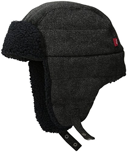 Levi's Men's Micro Box Pattern Two-Toned Sherpa Lined Snap up Trapper Hat, Black, Large/X-Large (Trapper Large)