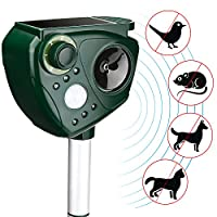AUTSCA Ultrasonic Animal Repellent Solar Power Animal Repeller, Cat Repellent, Dog Repellent, Deer Repellent, Mice Repellent, Bird Repellent