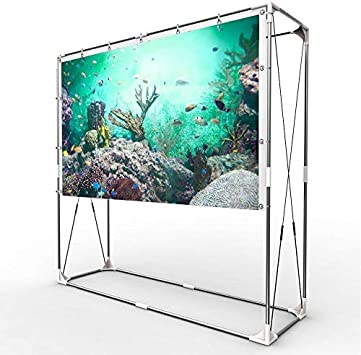 JaeilPLM 80-Inch Portable Projector Screen Indoor Outdoor Compatible with Rectangle Stand for Home Theater Office Gaming