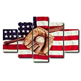 Antique USA Flag with Baseball Wall Decor Canvas Oil Painting Retro Rustic American National Flag Wall Art for Home Living Room Bedroom Kitchen Decoration-5 Pieces Ready to Hang