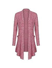 Elfremore Women Open Front Casual Knit Long Sleeve Sweater Drape Cardigan