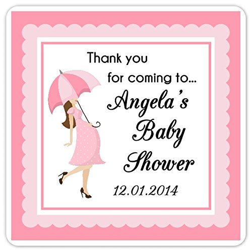 60 Baby Shower Stickers, Baby Bump Shower Labels, Pink Umbrella Square Baby Shower Labels, 2 inch square