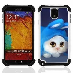 Dragon Case- Dise?¡Ào de doble capa pata de cabra Tuff Impacto Armor h??brido de goma suave de silicona cubierta d FOR Samsung Galaxy Note3 N9000 N9008V N9009- ART DRAWING WHITE BLUE COSTUME RABBIT CAT