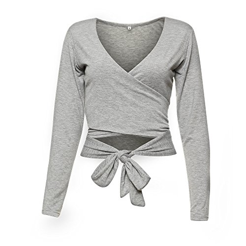 Famulily Women's Sexy Deep V Neck Bandage Surplice Wrap Crop Top,Grey,Aisa XL=US 10