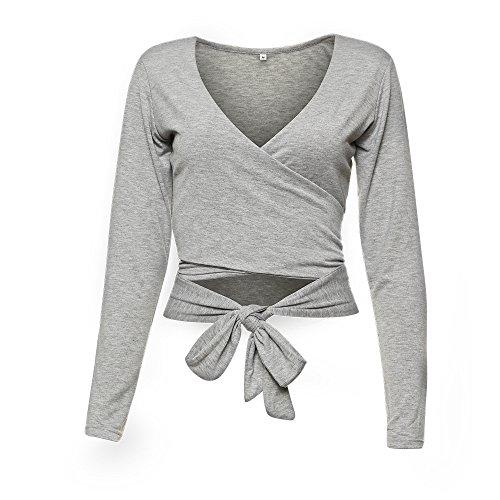 Famulily Women's Sexy Deep V Neck Bandage Surplice Wrap Crop Top,Grey,Aisa XL=US 10 ()