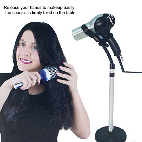 Hair Dryer Stand, Rotating Hair Dryer Stand Hand Free with Base, Hands-Free Adjustable Height Hair Dryer Holder on Countertop Floor