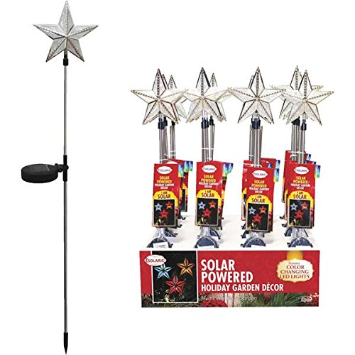 Alpine Corporation QTT300ABB 6'' X 35'' Solar Silver Star Stake With Color Changing LED Lights Assorted Colors by Alpine Innovations