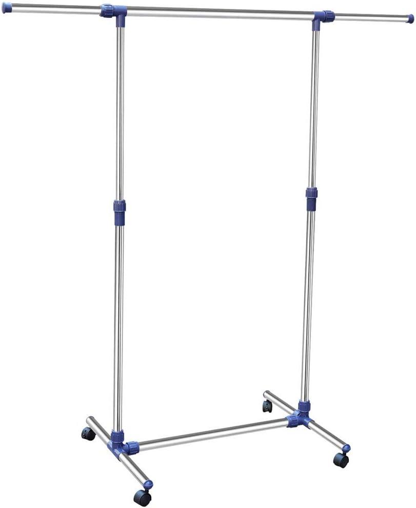 Bakaji Stand perchero ajustable de acero plegable, fácil de montar con 4 ruedas, carga máxima hasta 150 kg, Stander Exposición negocio, perchero profesional de acero plegable: Amazon.es: Hogar