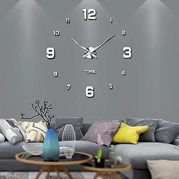 VANGOLD moderno Mute DIY sin Marco Tamaño Grande Reloj de pared 3d espejo de Vinilo Metal Big relojes Home Oficina Decoración: Amazon.es: Hogar