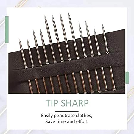 Self-Threading Needles Silver Thick Big Eye Sewing Needles,Self-Threading Needles Embroidery Hand Sewing Kit Set,Stainless Steel Long Straight Needle with Large Eye for Sewing Work
