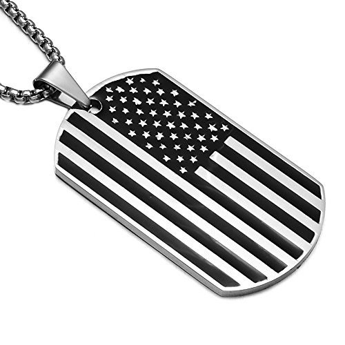 Apopo US Flag Dog Tag Necklace Stainless Steel Pendant - Silver