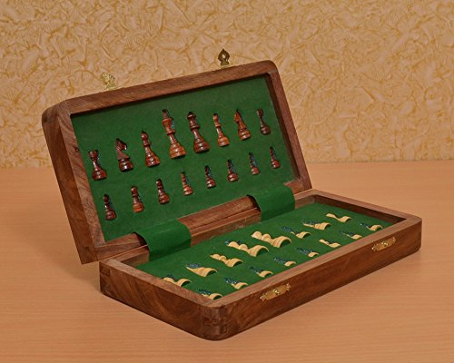 Chessbazaar Travel Series Folding Magnetic Chess Set In Sheesham & Box Wood - 12 Inches by Chessbazaar