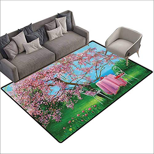 - Designed Kitchen Bathroom Floor Mat Colorful Lakehouse Decor Collection,Tea Time with Vintage Chairs and Table under Blossoming Plum in a Spring Garden View Oil Painting 48