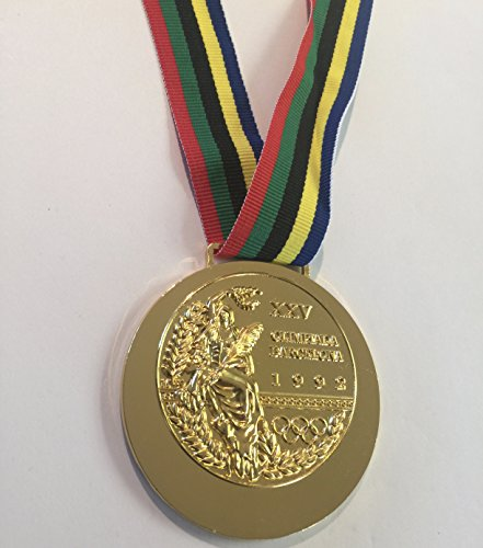 1992 Barcelona SPAIN Olympic Souvenir GOLD Medal with Ribbon RARE TEAM USA (Not a Pin or Coin) - 1992 Olympic Pin