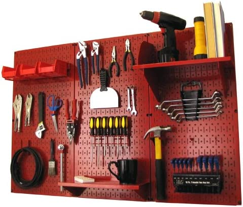 Pegboard Organizer Wall Control 4 ft. Metal Pegboard Standard Tool Storage Kit with Red Toolboard and Red Accessories