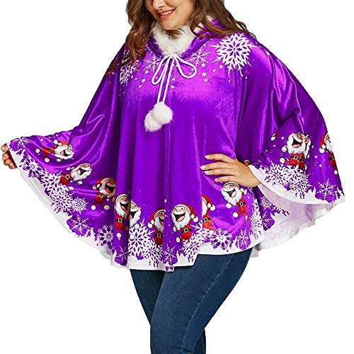 HHei_K Womens Christmas Vintage Santa Claus Snowflake Print Drawstring Tassels Hoodie Cloak Faux Fur Hooded Cape Coat Purple