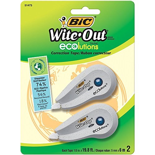BIC Wite-Out Brand ECOlutions Mini Correction Tape, White, -