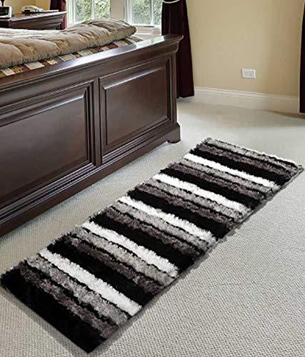 Global Home Modern Stripes Microfibre Polyester Shaggy Bedside Runner, Soft Rug for Bedroom Living Room Kitchen- 55×150 cm(Black Grey)