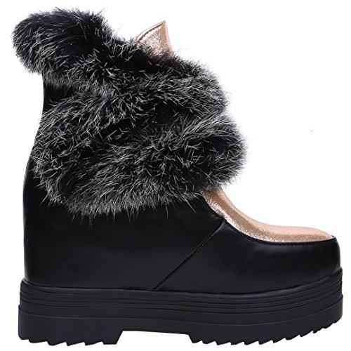 Aiyoumei Donna Roud Toe Aumentato Stivali Piattaforma Interna Stivali Da Neve Invernali Stivaletti Neri
