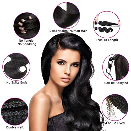 Free Queen 8A Brazilian Virgin Hair 3 Bundles with Closure Body Wave 100% Unprocessed Human Hair Weave With Lace Closure … (18'' 20'' 22''+16''closure, Three Part) by Free Queen (Image #4)