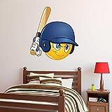 Boys Baseball Batter Emoji Wall Decal – Kids Wall Sticker Emoticon