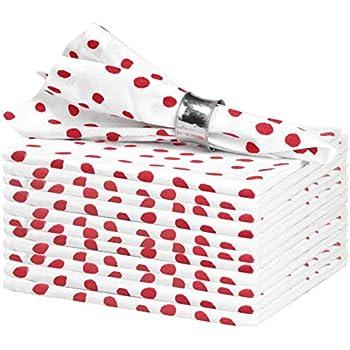Glamburg Ring Spun Cotton Dinner Napkins 12-Pack, Cotton Dinner Cloth Napkins 18x18, Cocktail Napkins, Wedding Dinner Napkins, Polka Dots - Red