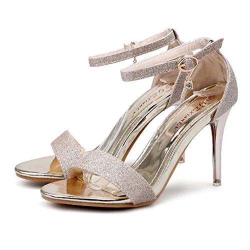 SHEO sandalias de tacón alto Las sandalias de tacón alto de las mujeres con el cordón atractivo del diamante de Taiwán impermeable con sandalias abiertas-toed Oro