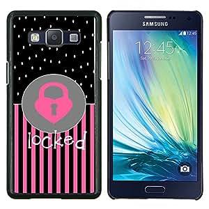 TECHCASE---Cubierta de la caja de protección para la piel dura ** Samsung Galaxy A5 ( A5000 ) 2014 Version ** --Corazón del lunar Rosa Negro Texto