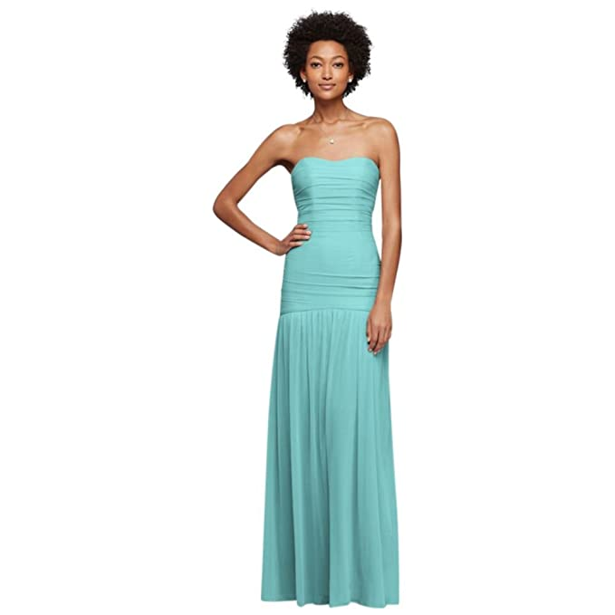 Davids Bridal Long Fit And Flare Mesh Bridesmaid Dress Style F18076