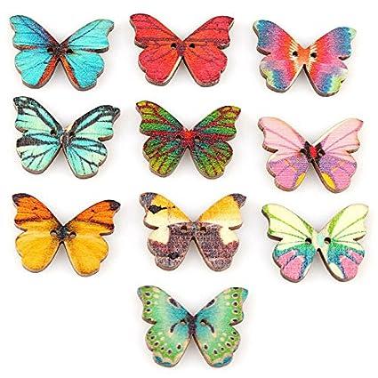 sixthbrain 50 pcs Random Color Mariposa Insectos botones de madera 2 ...