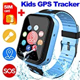 [SIM Card Included] Kids Smart Watch Phone for Girls Boys - IP68 Waterproof GPS Tracker Locator Touch Games SOS Outdoor Digital Wrist Cellphone Watch Bracelet for Holiday Birthday (Blue)