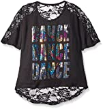 Gia Mia Dance Big Girls Lace Back Tee, Black, Small