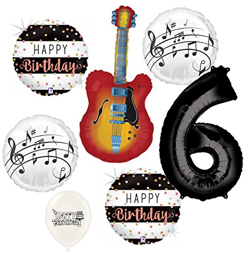 (Electric Guitar Balloons Musical Instrument 6th Birthday Party Decorations Supplies Bundle)