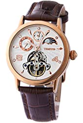 Time100 Sun Phase Multifunction Skeleton Automatic Rose Golden Dial Mechanical Watch #W60011M.03A