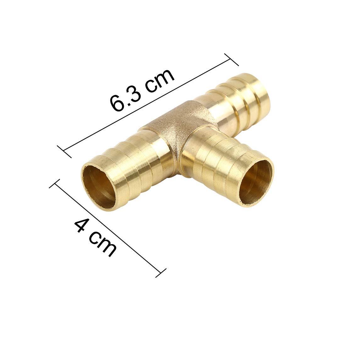 X AUTOHAUX 16 mm Manguera Barb lat/ón Joiner tee Adaptador de 3 v/ías para Aceite de Agua de Aire 5 Piezas