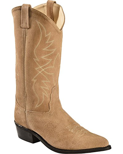 Old West Men's Roughout Suede Cowboy Boot Pointed Toe Natural 8 EE US